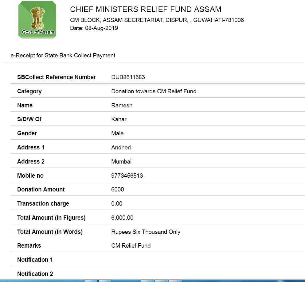 donated funds for bihar assam floods 2019