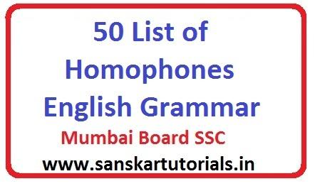 50 List of Homophones Mumbai SSC Board English Grammar