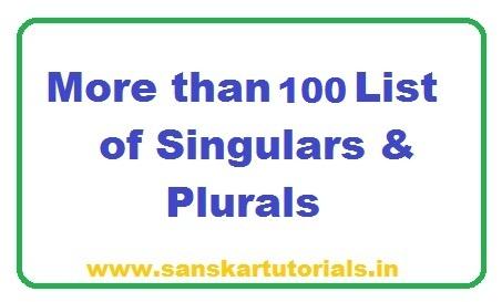 More than 100 List of Singulars Plurals