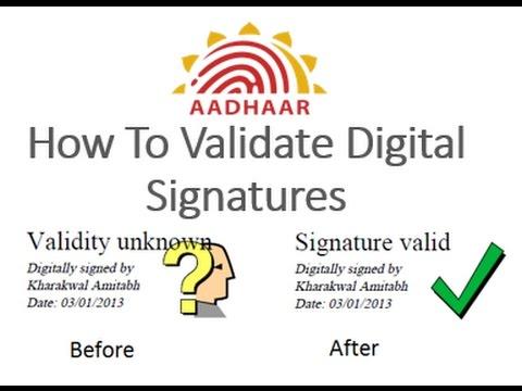 verify digital signature in e aadhaar
