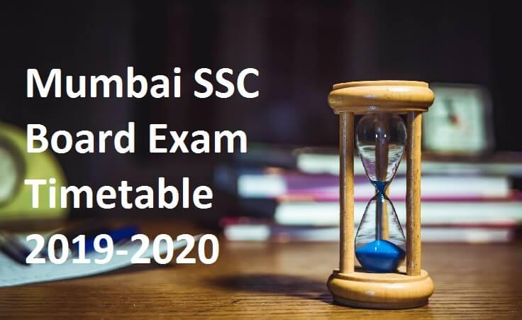 Mumbai SSC Board Exam Timetable 2019-2020