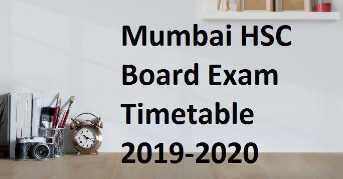 Mumbai HSC Board Exam Timetable 2019-2020